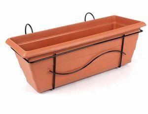 FloraSun® 4er Set Balkonkästen aus Metall/Kunststoff, 50 x 17 x 17,5 cm, mit Halterung und Wasserspeicher, bis 15 kg, 10 L Fassungsvermögen, in terra
