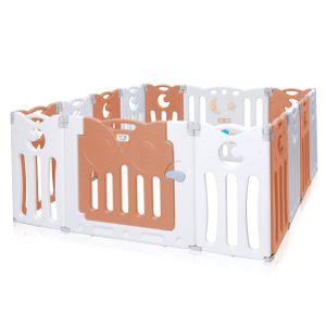 Baby Vivo Laufgitter aus Kunststoff Faltbar 14 Elemente - Athena in Braun/Weiß