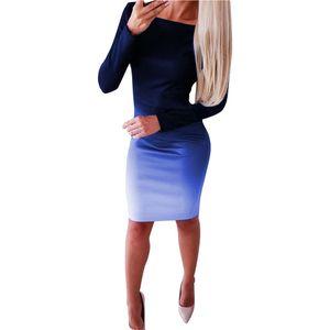 Frauen Langarm Gradient Sexy Kleid Abend Party Club Kleid Mini Größe:S,Farbe:Blau