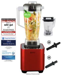KeMar Kitchenware KSB-200R Hochleistungsmixer | Mixer | Standmixer | LED Touch Bedienfeld | 2 Behälter | BPA-frei | 6 Programme | Rot Metallic