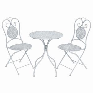 3-tlg. Gartenbar-Set ,Garten-Essgruppe ,Bartisch und Barstuhl für Garten Stahl Grauweiß