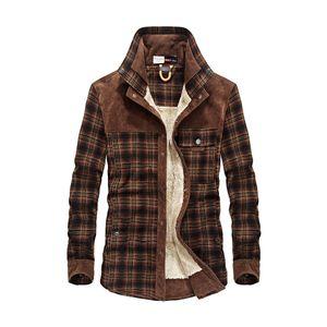 Mode Herren Herbst Winter Plaid Casual Warm Thicken Outwear Jackenmantel Größe:L,Farbe:Taupe