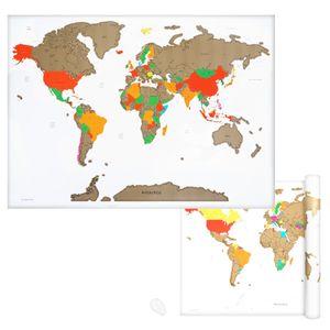 Navaris Weltkarte Landkarte zum Rubbeln - 82 x 59 cm Rubbelkarte mit Rubbelchip - Scratch Off World Map Poster English - Rubbel Karte in Weiß