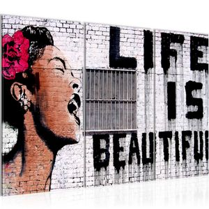 Life is Beautiful Banksy Street Art BILD 120x80 cm − FOTOGRAFIE AUF VLIES LEINWANDBILD XXL DEKORATION WANDBILDER MODERN KUNSTDRUCK MEHRTEILIG 301331a