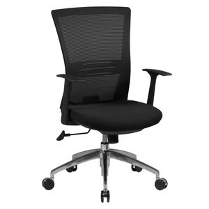AMSTYLE Bürostuhl BASELINE Stoffbezug Schreibtischstuhl Armlehne schwarz Chefsessel 120kg Drehstuhl Synchronmechanik