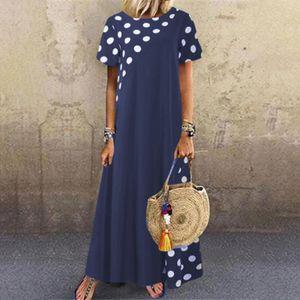 Plus Size Frauen Lady Dot Print Pachwort O-Ausschnitt Kurzarm Taschen Casual Dress Größe:L,Farbe:Navy