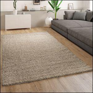 Teppich Wohnzimmer Hochflor Modernes Einfarbiges Design Unifarben Beige , Grösse:120x170 cm