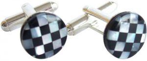 Manschettenknöpfe Schwarzer Onyx Und Perlmutt, 925 Silber