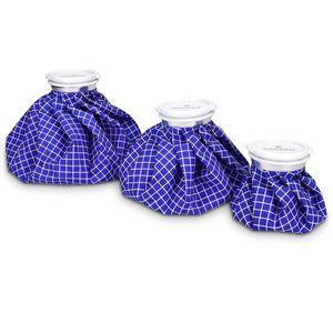 Navaris Kühlbeutel & Wärmflasche Set - 3 Größen warm und kalt - Kühlpads Eisbeutel Kältetherapie - Kühlkissen Weiß-Blau