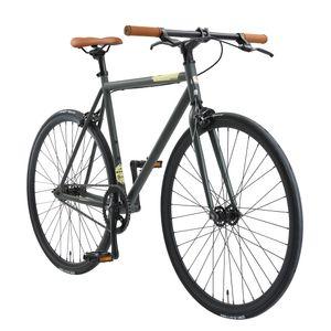 BIKESTAR Singlespeed 700C 28 Zoll City Stadt Fahrrad | 53 cm Rahmen Rennrad Retro Vintage Herren Damen Rad | Anthrazit & Beige