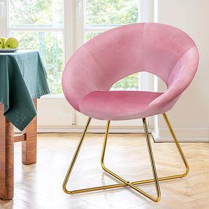 COSTWAY Polstersessel mit Metallbeinen, Schminktisch Stuhl bis 120kg belastbar, Wohnzimmerstuhl Smat, Konferenzstuhl, Besucherstuhl (Rosa)