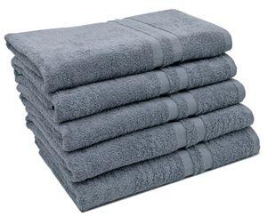 5er Set Duschtücher, 70x140 cm, 100% Baumwolle, grau
