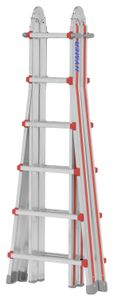 Hymer Teleskopleiter, 4x6 Sprossen, senkr. Höhe Stehleiter 1,70 - 3,03 m, Reichhöhe 4,35 / 7,20 m, Gewicht 18,0 kg