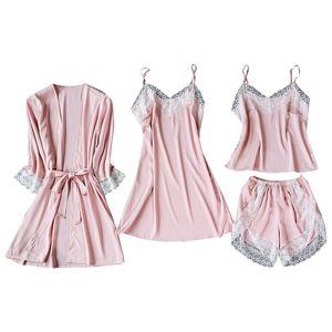 Satin Silk Pyjamas Cardigan Nachthemd Bademantel Damen Roben Unterwäsche Nachtwäsche Größe:M,Farbe:Rosa
