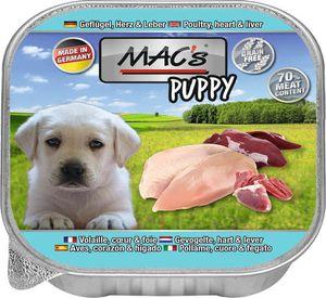 11x150g MAC's DOG Puppy Geflügel, Herz & Leber Hunde Nassfutter Welpenfutter
