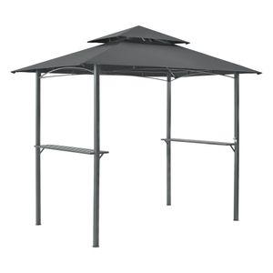 Grillpavillon Parga 250x241x151cm BBQ Grill Pavillon mit  Bartresen Gartenpavillon mit Doppelschichtdach Stahl Polyester Dunkelgrau