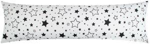 Baumwoll Renforcé Seitenschläferkissen Bezug 40x145cm - Große und kleine Sterne in schwarz - 100% Baumwolle Stillkissenbezug (KY-376-9)