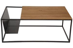 Couchtisch Industrial-Design Wildeiche massiv 110x60 cm schwarz DARI