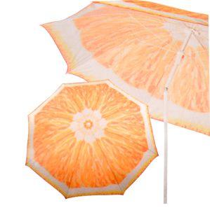Sonnenschirm 160cm neigbar Strandschirm Gartenschirm Dekoschirm Partyschirm Obst, Farbe:orange