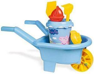 Schubkarre Peppa Pig, 60x30x32 cm / 5-teilig, Kinderschubkarre mit Sandspielzeug, miniHeld