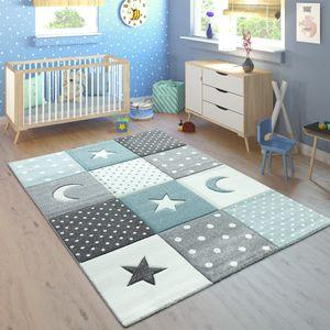 Kinderteppich Pastellfarben Kariert Punkte Mond Sterne Weiß Grau Blau, Grösse:120x170 cm