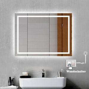 LED Badspiegel Badezimmerspiegel 80x60 mit Beleuchtung Lichtspiegel Wandspiegel mit Wand-schalter beschlagfrei IP44 energiesparend Kaltweiß