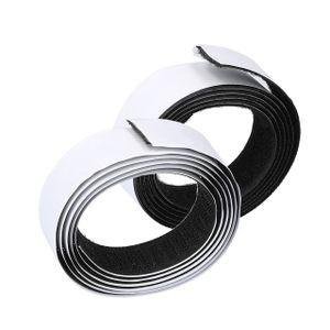 Klettband Selbstklebend 1m Extra Stark, Doppelseitig Klebende mit Klettverschluss 19 mm Breit Selbstklebendes Klebepad Flauschband und Hakenband schwarz
