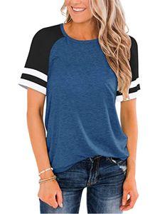 Lässiges einfarbiges T-Shirt mit kurzen Ärmeln für Frauen,Farbe: Blau,Größe:L