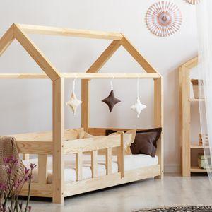 Selsey Kinderbett MALLORY Hausbett mit Rausfallschutz und Buchweizen-Matratze 90x160 cm