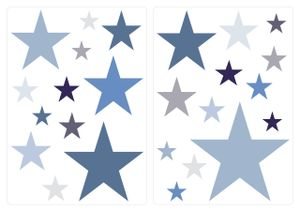 dekodino® Wandtattoo Pastell Sterne in blau und grau 25 Stück Sticker Set