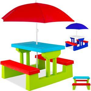 KESSER® Kindersitzgruppe mit Sonnenschirm Kindertisch Picknickset | Sitzgarnitur Tisch und Bänke | Sitzgruppe Kindermöbel Gartenmöbel für Kinder, Farbe:Blau