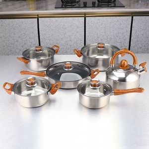 12 teilige Set Topfset Kochtopfset Edelstahl Kasserolle Kochtopf Deckel Bratpfanne mit Wasserkocher(Holzmaserung Griff)