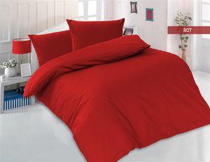 Bettwäsche 200x200 + 2 x 80x80 cm 100% Baumwolle Renforcé Uni 3 teilig Bettgarnitur Bettbezug Set mit Reißverschluss Rot