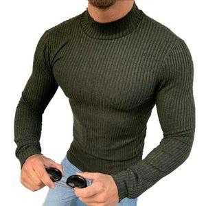 MEGAMAN Herren kurzer Rollkragenpullover Rolli Rollkragen Pulli Shirt  Sweater Größe M Grün