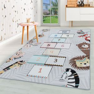 Kurzflor Kinderteppich Kinderzimmer Teppich Spielteppich Motiv Himmel Hölle Grau, Farbe:Grau, Grösse:140x200 cm