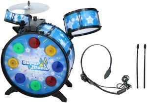 Kinder-Schlagzeug Drum-Set mit Kopfhörer inkl. Mikro Licht und Ton-Funktion