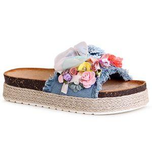 topschuhe24 1820 Damen Plateau Sandalen Pantoletten Blume, Farbe:Blau, Größe:37 EU