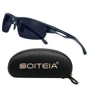 Goiteia Polarisierte Sport-Sonnenbrillen, Fahrradbrille mit UV400 Schutz zum Radfahren Angeln Laufen Wandern,Schwarz