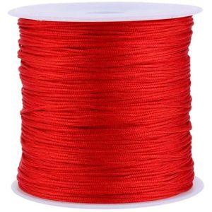 Nylonschnur, 100 m x 0.8mm Nylon Beading Thread String, Nylon Makramee Schnur zum Selbermachen von Armbändern, Halsketten, Chinesischen Knoten, Quasten, Makramee Knoten, Schmuck Einfädeln, Rot