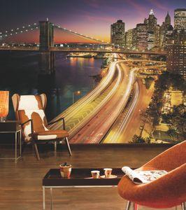 "Komar Fototapete ""NYC Lights"", bunt, Metropole New York, 368 x 254 cm"