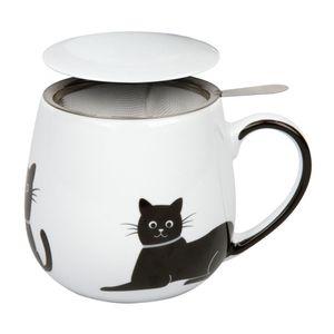 Könitz My Lovely Cats Grey Necklace Becher, Tasse, Teetasse, mit Sieb und Deckel, Porzellan, 420 ml, 11 5 143 2259