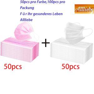 100x iCatcher® Einweg Schutzmaske Maske 3-lagig Atemschutz Mundschutzmaske Gummiband Zwei Farbkombinationen(Weiß und Rosa)