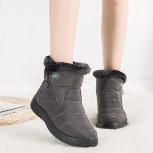 Damen Winter Schneeschuhe Warm und antiskid Seitlicher Reißverschluss Stiefel,Farbe: Grau,Größe:42