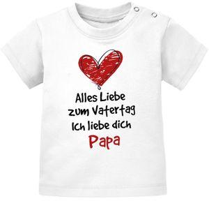 Baby T-Shirt kurzarm mit Spruch Alles Liebe zum Vatertag Geschenk Papa Vatertagsgeschenk Jungen Mädchen Moonworks® weiß 80/86 (10-15 Monate)