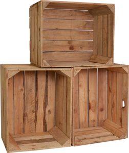 CHICCIE 3 Set Vintage Holzkisten Natur 50x40x30 - Obstkisten Weinkisten Apfelkisten Regale Deko Holz Kisten