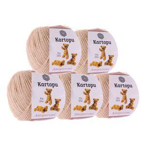 5 x 50g Strickgarn Kartopu Amigurumi Sparpack   Häkelgarn Strickgarn Farbwahl und Mixpakete, Farbe:beige