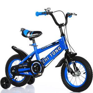 16 Zoll Kinder Jungen Mädchen Fahrrad Fahrrad verstellbarer Sitz Mit Pedal & Trainingsrad,Farbe: Blau