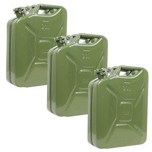 3x Benzinkanister Kraftstoff Kanister Metall 20 Liter oliv
