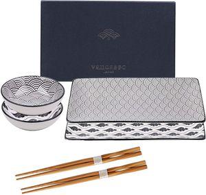 vancasso HARUKA Porzellan Sushi Set mit Geschenkverpackung, 6-teilig Japanisches Essservice für 2 Personen, Beinhaltet Sushi Teller, Soßenschälchen und Essstäbchen