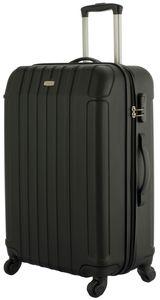 Cahoon Koffer Trolley / M - 66 Liter  / Reisekoffer Hartschale 4-Rollen - Farbe: schwarz
